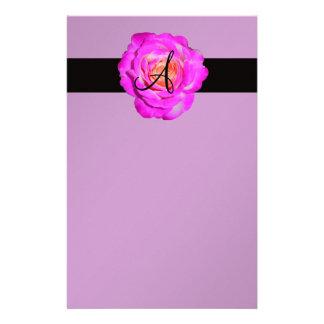 Hot pink rose monogram purple stationery
