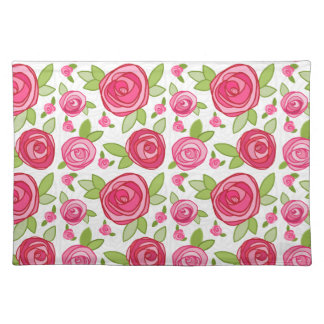 Hot Pink Rose Pattern Place mat Cloth Place Mat