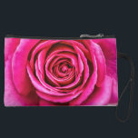 """Hot Pink Rose Suede Wristlet<br><div class=""""desc"""">A closeup of a large,  hot pink,  fragrant English rose. Unfortunately,  photography cannot capture scent.</div>"""