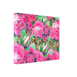 Hot Pink Roses Abstract Canvas Print