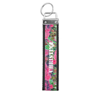 Hot Pink Roses Abstract Wrist Keychain