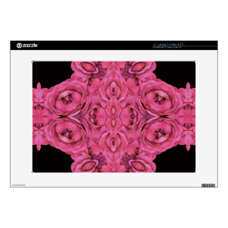"Hot Pink Roses Black 15"" Laptop Skin"