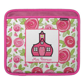 Hot Pink Roses Floral Teacher iPad Sleeve