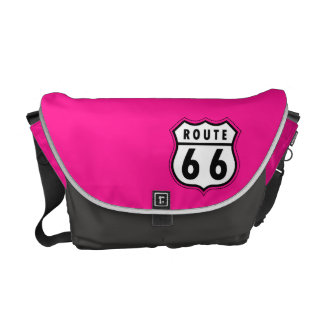 Hot Pink Route 66 road sign Messenger Bag