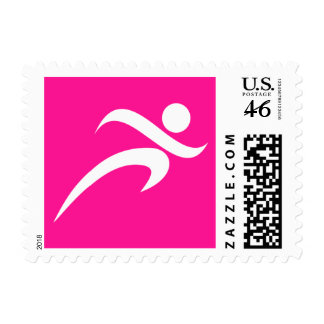 Hot Pink Running Runner Postage Stamp
