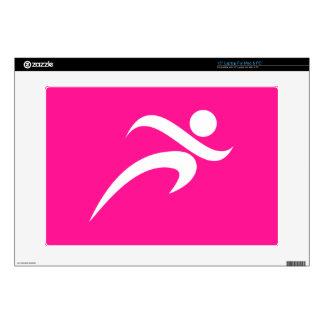 """Hot Pink Running; Runner Skin For 15"""" Laptop"""