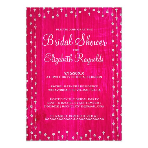 Hot Pink Rustic Country Bridal Shower Invitations