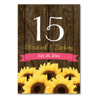 HOT PINK RUSTIC SUNFLOWER TABLE NUMBER CARD