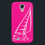 "Hot Pink Sailing Samsung Galaxy S4 Cover<br><div class=""desc"">Cool Hot Pink  nautical sailboat design.  Great gift for the sailor in the family or anyone that loves sailing.  Visit our store for many more cute sailing products!  Thank you! Images used on this item are licensed and &#169; Graphics Factory.com</div>"