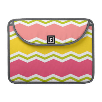 Hot Pink, Salmon, Yellow and Green Chevron Stripes Sleeves For MacBook Pro