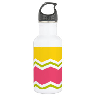 Hot Pink, Salmon, Yellow and Green Chevron Stripes Water Bottle