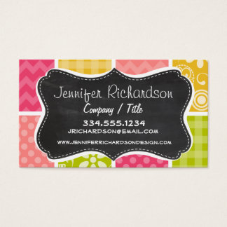 Hot Pink, Salmon, Yellow and Green Cute Checkered Business Card