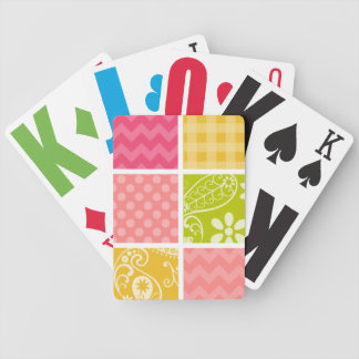 Hot Pink, Salmon, Yellow and Green Cute Checkered Poker Cards