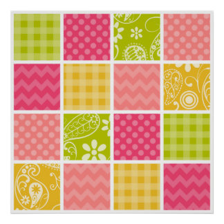 Hot Pink, Salmon, Yellow and Green Cute Checkered Poster