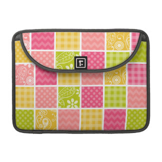 Hot Pink, Salmon, Yellow and Green Cute Checkered Sleeve For MacBooks