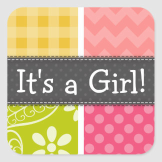 Hot Pink, Salmon, Yellow and Green Cute Checkered Square Sticker
