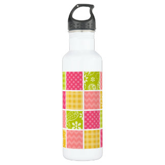 Hot Pink, Salmon, Yellow and Green Cute Checkered Stainless Steel Water Bottle