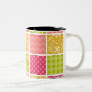 Hot Pink, Salmon, Yellow and Green Cute Checkered Two-Tone Coffee Mug