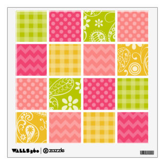 Hot Pink, Salmon, Yellow and Green Cute Checkered Wall Sticker