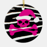 Hot Pink Santa Skull Christmas Tree Ornaments