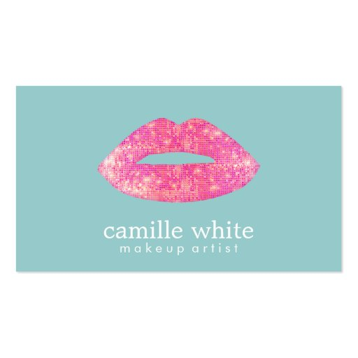 Hot Pink Sequin Lips Beauty Teal Business Card Templates