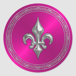 Hot Pink Sheen and Silver Fleur de Lis Classic Round Sticker