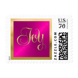 Hot Pink Sheen with Gold Joy Holiday Stamp