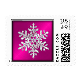 Hot Pink Sheen with Silver Snowflake Stamp