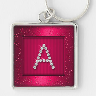 Hot Pink Shimmer and Sparkle with Monogram Keychain