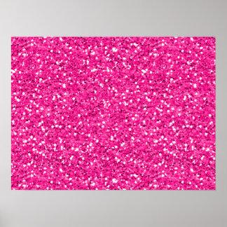 Hot Pink Shimmer Glitter Poster