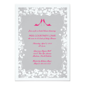 "Hot Pink Shoes Bridal Shower Invitation 5"" X 7"" Invitation Card"