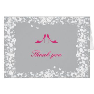 Hot Pink Shoes Bridal Shower Thank You Card