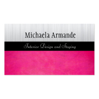 Hot Pink Silver Classic Sophisticated Business Double-Sided Standard Business Cards (Pack Of 100)