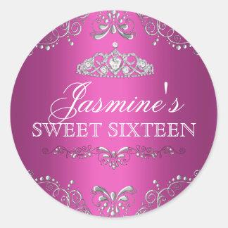Hot Pink Silver Damask & Tiara Sweet 16 Sticker