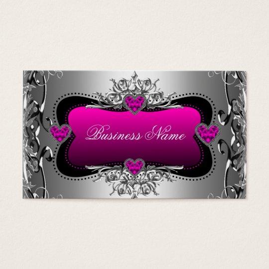 Hot Pink Silver Diamond Image Hearts Elegant Business Card