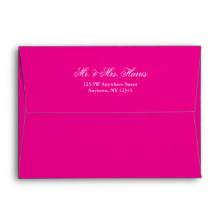 Hot Pink Silver Faux Glitter Return Address A7 Envelope
