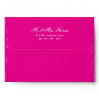 Hot Pink Silver Faux Glitter Return Address A7 Envelope