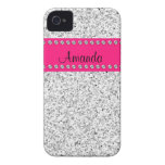 Hot Pink & Silver Glitter BLING iPhone 4 case
