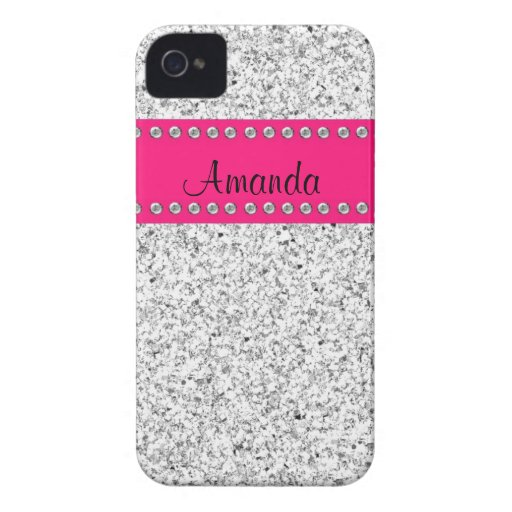 Hot pink amp silver glitter bling iphone 4 case zazzle
