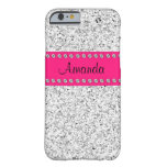 Hot Pink & Silver Glitter BLING iPhone 6 case