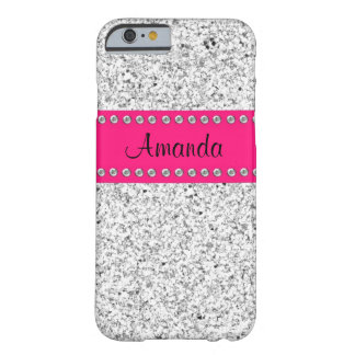 Hot Pink Silver Glitter BLING iPhone 6 case