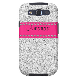 Hot Pink Silver Glitter BLING Samsung Galaxy S3 Galaxy SIII Cases