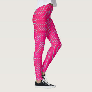 Hot Pink & Silver Glitter Polka Dots Leggings