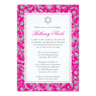 Hot Pink Silver Glitter Swirl Damask Bat Mitzvah Card