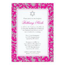Hot Pink Silver Glitter Swirl Damask Bat Mitzvah Invitation