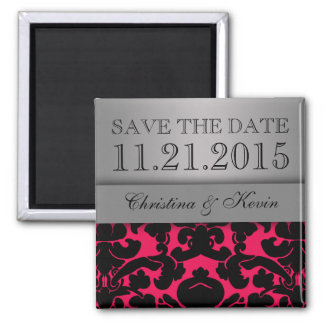 Hot Pink & Silver Luscious Damask Save the Date 2 Inch Square Magnet