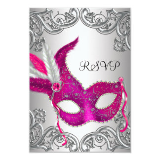 """Hot Pink Silver Mask Masquerade Party RSVP 3.5"""" X 5"""" Invitation Card"""