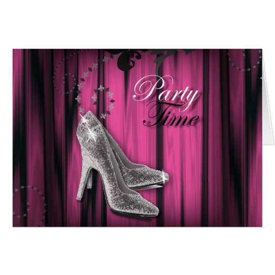 Hot Pink Silver Stiletto Sweet 16 Birthday Party Card