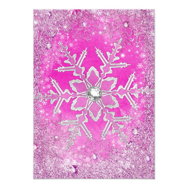 Hot Pink Silver Winter Wonderland Sweet 16 Card | Zazzle
