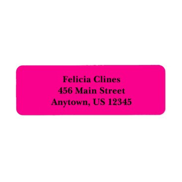 Professional Business Hot Pink Simple Plain Return Address Labels